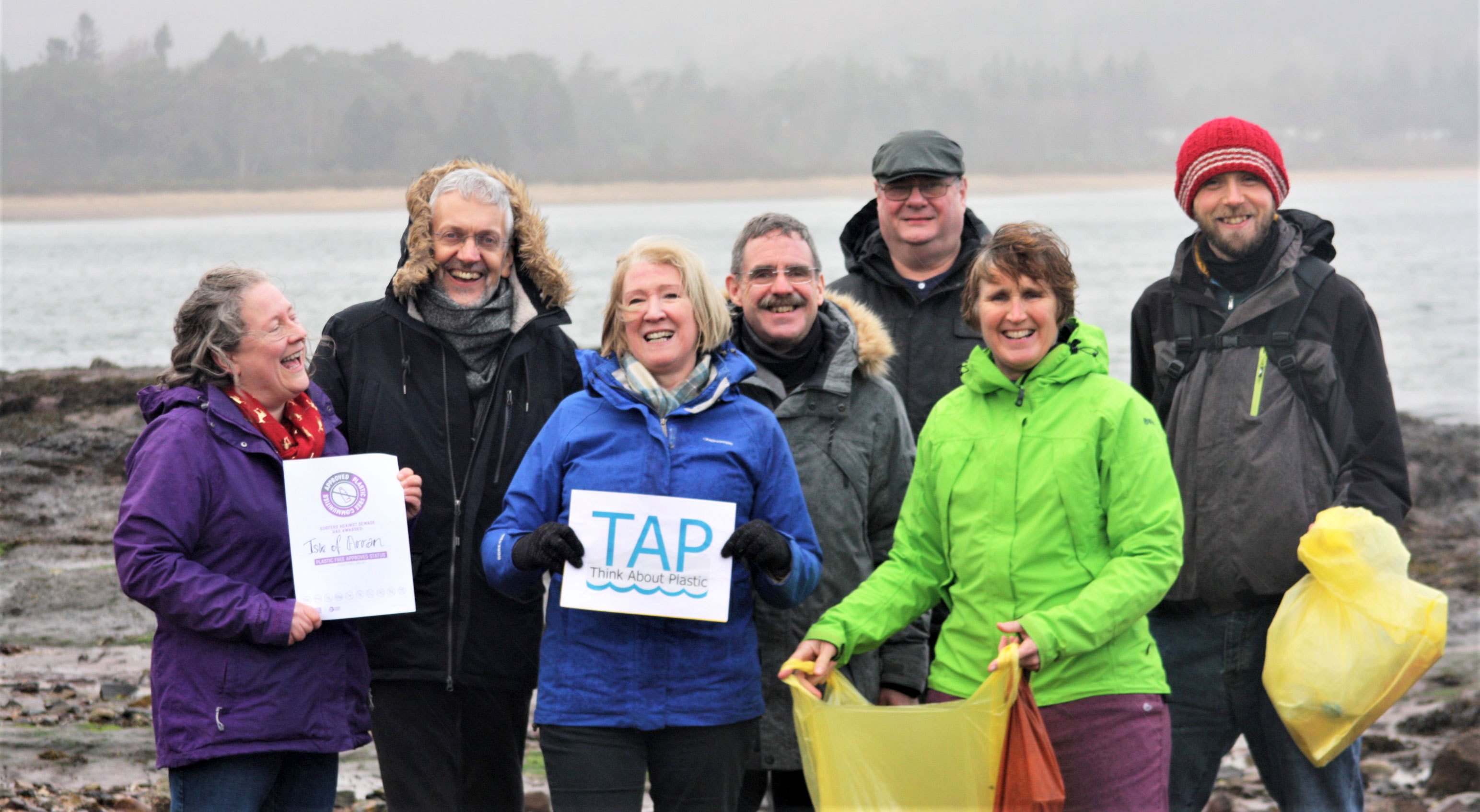 The TAP steering group celebrates winning Plastic-Free Community status for Arran
